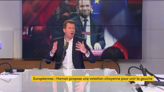 """La tête de liste des écologistes aux élections européennes, Yannick Jadot, dit """"non"""" à Benoît Hamon qui propose de faire voter les électeurs de gauche pour bâtir une liste pour les Européennes"""