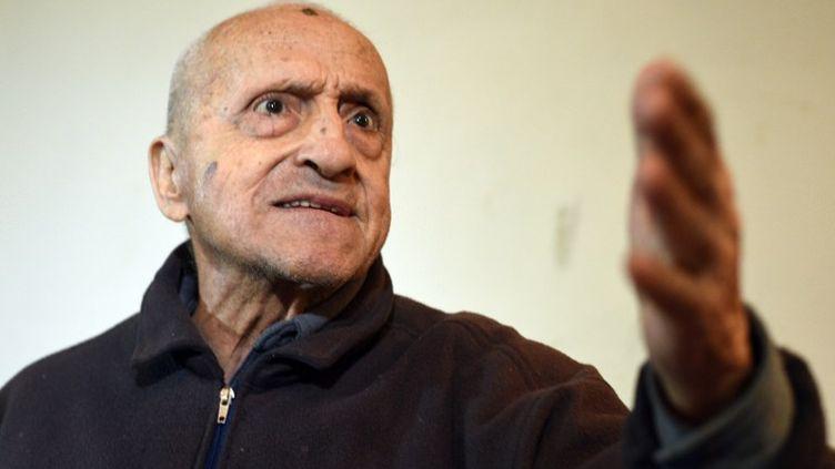Frangyan Khosrov, l'un des derniers rescapés vivants du génocide arménien, le 24 mars 2015 à Erevan (Arménie). (KAREN MINASYAN / AFP)