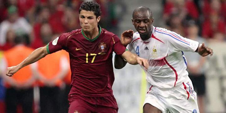Cristiano Ronaldo à la lutte avec Patrick Vieira lors de la demi-finale de la Coupe du monde 2006