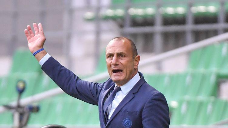 L'entraîneur franco-arménien de Montpellier Michel Der Zakarian lors du match de Ligue 1 entre l'AS Saint-Etienne et Montpellier au stade Geoffroy Guichard de Saint-Etienne, le 1er novembre 2020. (PHILIPPE DESMAZES / AFP)