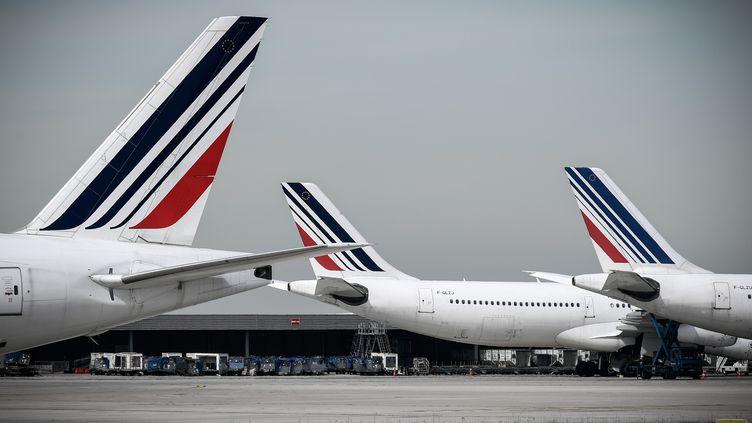 Des avions de la compagnie Air France, à l'aéroport Paris-Charles-de-Gaulle, le 11 avril 2018. (PHILIPPE LOPEZ / AFP)