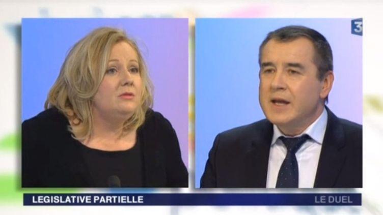 La frontiste Sophie Montel et le socialiste Frédéric Barbier, candidats à la législative partielle de la 4e circonscription du Doubs, en débat sur France 3 Franche-Comté, le 6 février 2015. (FRANCE 3 FRANCHE-COMTE)