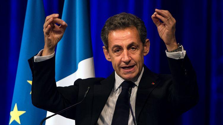 Le président de l'UMPNicolas Sarkozy lors d'un meeting organisé à Tourcoing, le 29 janvier 2015. (PHILIPPE HUGUEN / AFP)