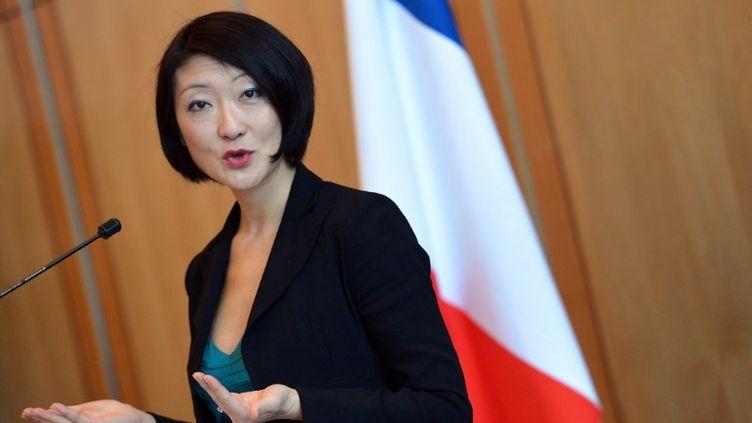 La ministrede l'Economie numérique, Fleur Pellerin, lors d'une conférence de presse relative au blocage de la publicité par Free, le 7 janvier 2013 à Paris. (MIGUEL MEDINA / AFP)