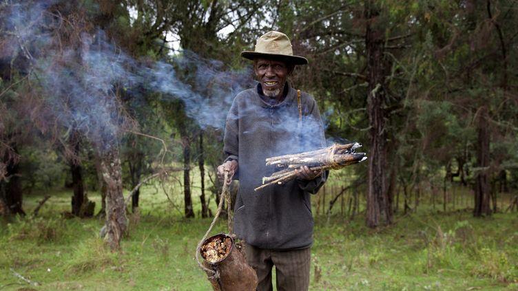 Un membre de l'ethnie Ogiek récoltedu miel sur le Mont Elgon, au cœur de la forêt Mau, la plus grande du Kenya (photo prise le 19 mai 2016). (KATY MIGIRO / REUTERS)