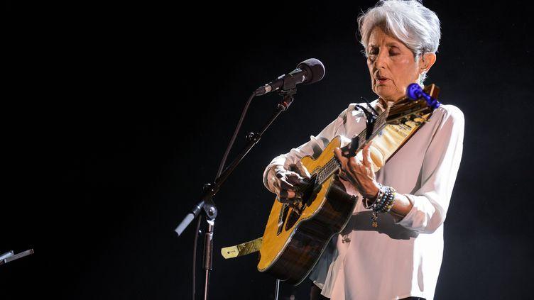 Joan Baez au Bozar, à Bruxelles (Belgique), le 21 mai 2018. (JEAN-MARC QUINET / BELGA MAG)