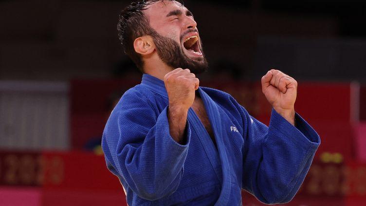 Luka Mkheidze après avoir remporté la médaille de bronze en judo, le samedi 24 juillet (JACK GUEZ / AFP)