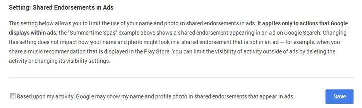 Pour que sa photo Google + n'apparaisse pas dans des publicités, il faut s'assurer que la case en bas est bien décochée. (GOOGLE )