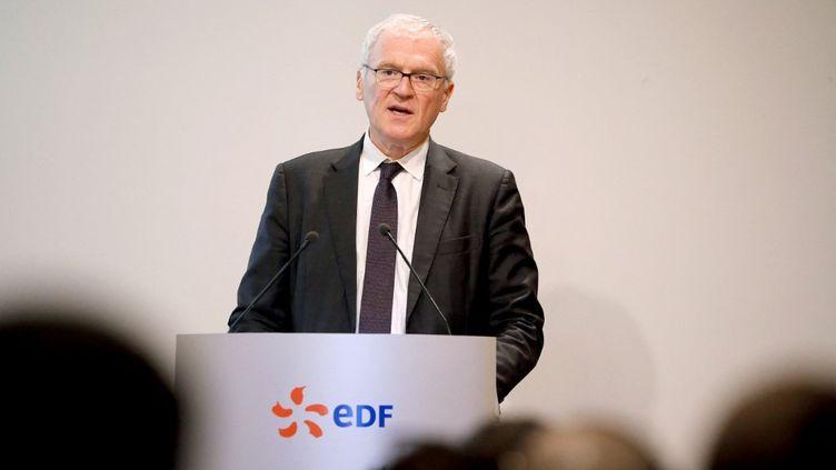Le PDG d'EDF Jean-Bernard Levey en 2019, à Paris. (FRANCOIS GUILLOT / AFP)