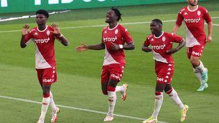"""La """"célébration"""" d'Aurélien Tchouaméni après son but face à Bordeaux, son ancien club, dimanche 3 octobre au stade Louis II de Monaco. (VALERY HACHE / AFP)"""