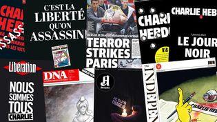 """Des unes de journaux datés du 8 janvier 2015, au lendemain de l'attentat meurtrier perpétré au siège du journal """"Charlie Hebdo"""" à Paris. (  FRANCETV INFO )"""