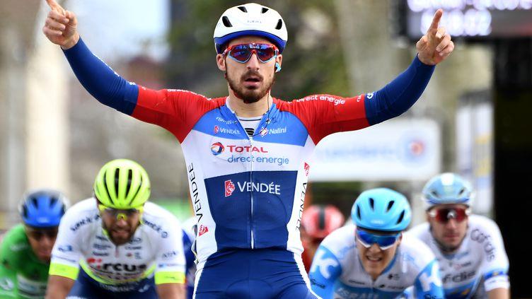 Niccolo Bonifazio, vainqueur de la cinquième étape de Paris-Nice, le 12 mars 2020. (ALAIN JOCARD / AFP)
