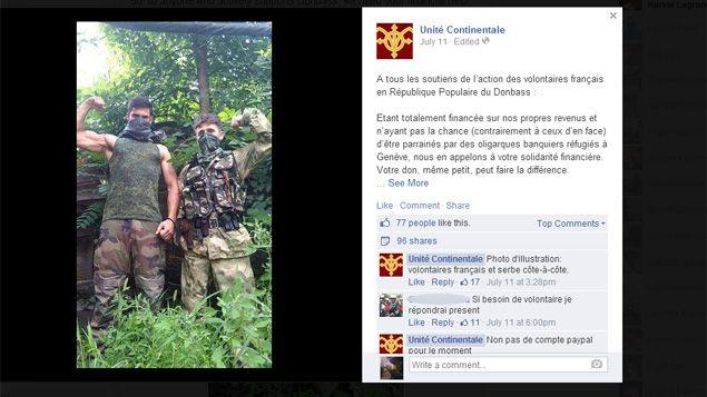 (La page facebook du groupuscule d'extrême droite Unité Continentale pro-russe © Capture d'écran Facebook)