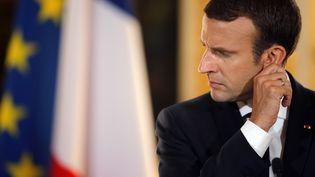 Emmanuel Macron lors d'une conférence de presse à l'Elysée, le 16 juillet 2017. (STEPHANE MAHE / AFP)