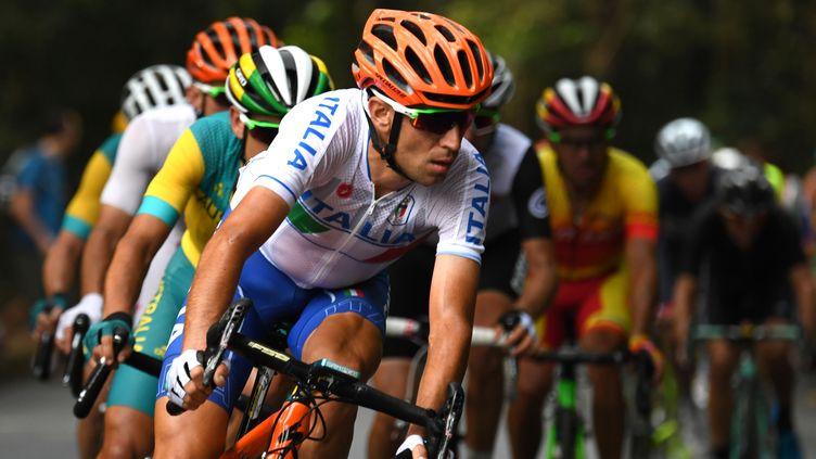 Vincenzo Nibali a lourdement chuté lors de la course sur route samedi (GREG BAKER / AFP)