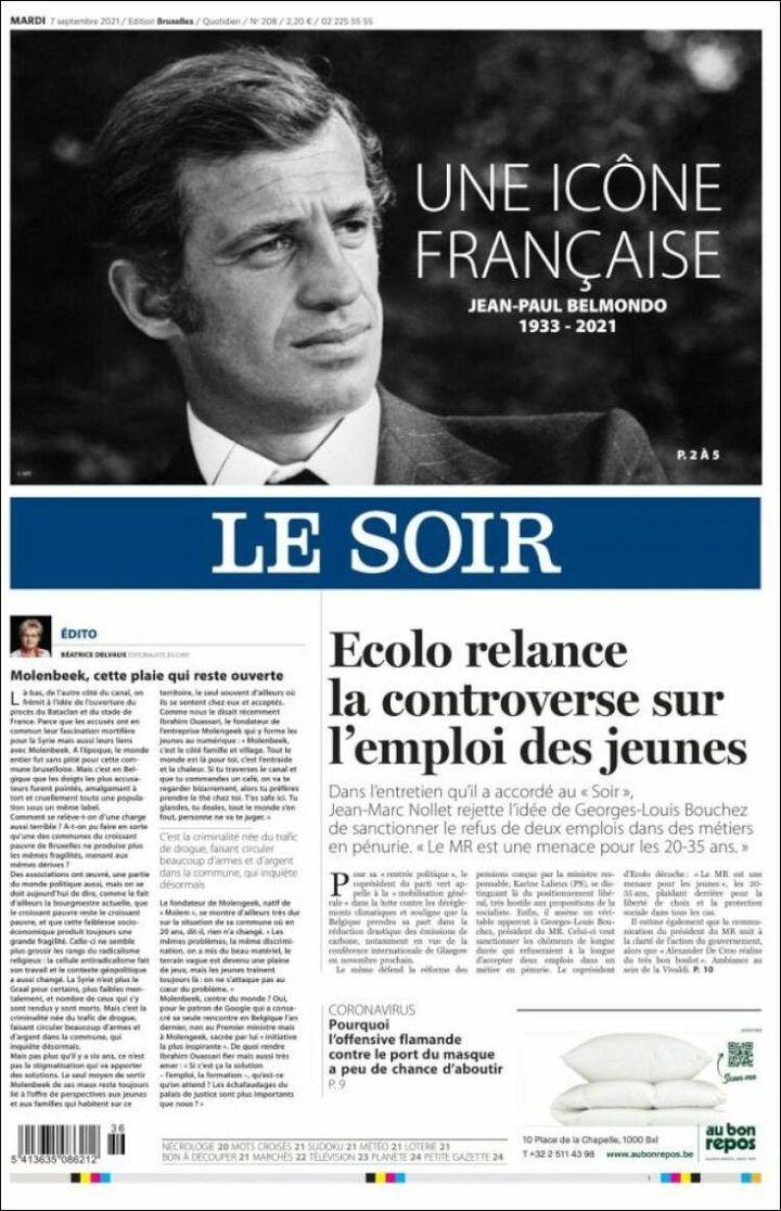 """La une du """"Soir"""", le 7 septembre 2021. (LE SOIR)"""