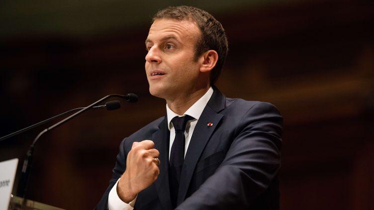 Emmanuel Macron, le 24 juin 2017 à la Sorbonne à Paris. (YANN BOHAC/SIPA)