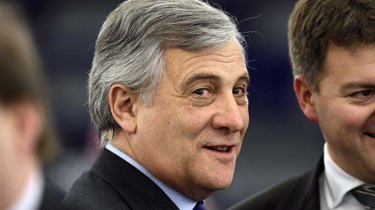 L'Italien Antonio Tajani (PPE) est le nouveau président du Parlement européen. Il a été élu mardi 17 janvier 2017 à Strasbourg. (FREDERICK FLORIN / AFP)