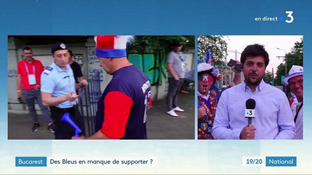 Euro 2021 : quelques supporters français et suisses dans les rues de Bucarest avant France-Suisse