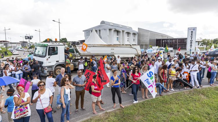 Manifestation à Cayenne, le 27 mars 2017. (JODY AMIET / AFP)