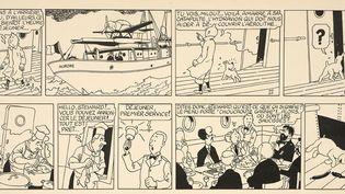 """Hergé, une planche de """"L'Etoile mystérieuse"""" (détail)  (Artcurial)"""