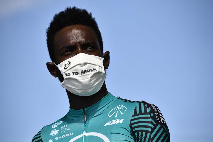Kevin Reza, comme le reste du peloton du Tour de France 2020, a participé à l'opération #NoToRacism. (MARCO BERTORELLO / POOL)