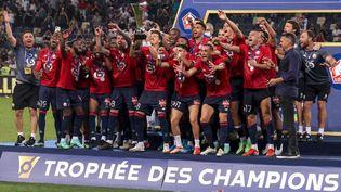 La joie des Lillois, qui ont remporté le Trophée des champions face au Paris Saint-Germain, dimanche 1er août. (EMMANUEL DUNAND / AFP)