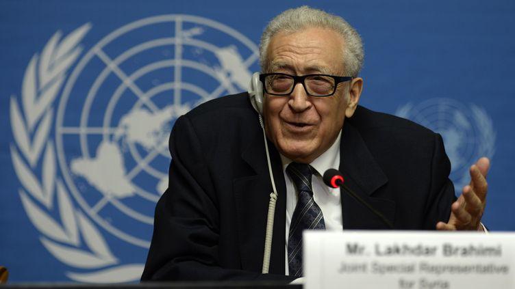 Le médiateur de l'ONU pour la Syrie, Lakhdar Brahimi, le 13 février 2014 à Genève. (PHILIPPE DESMAZES / AFP)