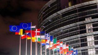 Les drapeaux des états membres de l'Union européenne, le 31 janvier 2020, flottent devant le siège du Parlement européen à Strasbourg, pour la première fois sans le drapeau de la Grande-Bretagne. (DPA / PICTURE ALLIANCE VIA GETTY IMAGES)