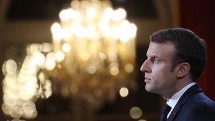 Emmanuel Macron, mercredi 3 janvier 2018, lors de ses vœux à la presse. (LUDOVIC MARIN / POOL)