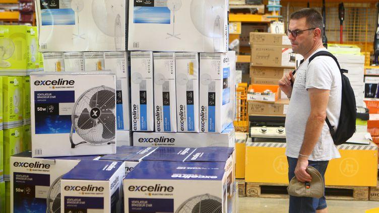 Un client regarde des ventilateurs dans un magasin à Mulhouse (Haut-Rhin), le 7 août 2018. (MAXPPP)