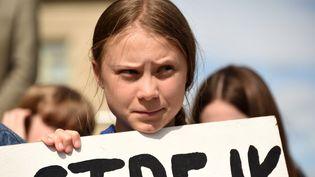 La militante Greta Thunberg lors d'un rassemblement à Iowa City (Etats-Unis), en décembre 2018. (SHERRY PARDEE / SPUTNIK / AFP)