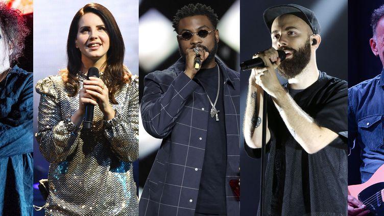 Robert Smith de The Cure, Lana Del Rey, Damso, Woodkid et Bruce Springsteen comptent parmi les artistes dont les albums sontles plus attendus en 2020. (AMY HARRIS/SIPA - ETHAN MILLER/GETTY/AFP - THOMAS SAMSON/AFP - SEBASTIAN GABSCH / AFP - KEVIN MAZUR/GETTY/AFP)