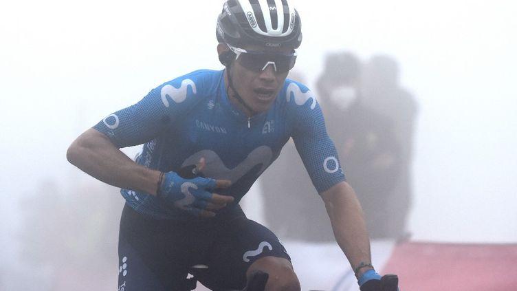 Miguel Angel Lopez s'impose au sommet del'Altu d'El Gamoniteiru. (MIGUEL RIOPA / AFP)