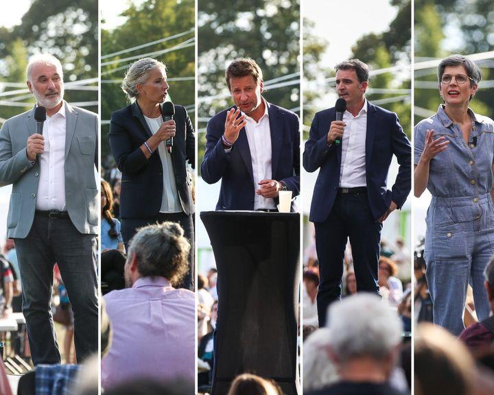 Les cinq candidats à la primaire écologiste prennent la paroledurant les journéesd'étéà Poitiers (Vienne), le 20 août 2021. (MAXPPP)