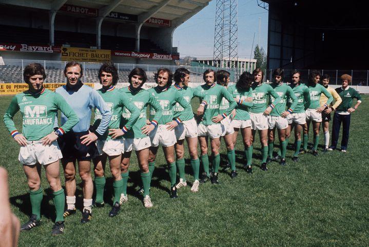 L'équipe de Saint-Etienne, le 12 mai 1976, à la veille de la finale de la Coupe d'Europe contre le Bayern Munich. (AFP)