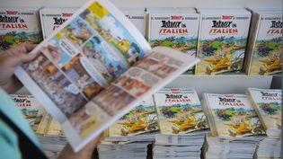 """Le dernier opus de la série """"Astérix"""", en vente dans une librairie, à Stuttgart (Allemagne), le 19 octobre 2017. (MARIJAN MURAT / DPA)"""