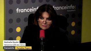 La sénatrice UDI de l'Orne, Nathalie Goulet, lundi 6 novembre 2017 sur franceinfo. (FRANCEINFO / RADIO FRANCE)