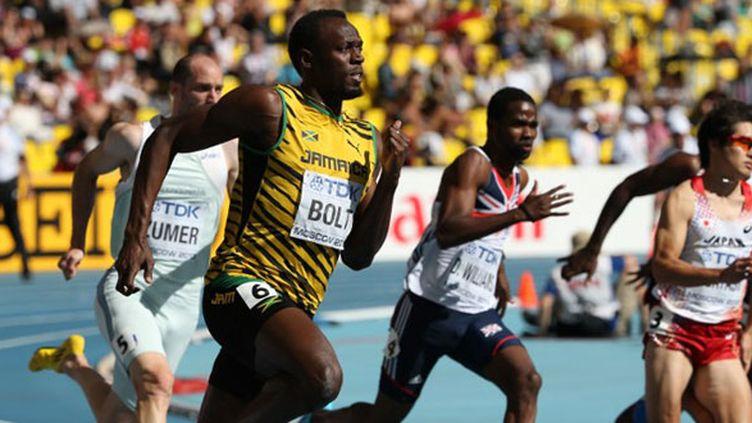 Usain Bolt lors des séries du 200m