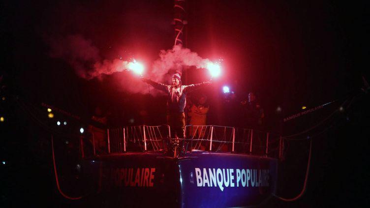 L'arrivée d'Armel Le Cléac'h, vainqueur de la dernière édition du Vendée Globe, le 19 janvier 2017. (LAURENT THEILLET / MAXPPP)