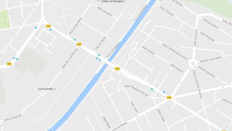 L'agression s'est déroulée surle Pont de l'Europe, aux Pavillons-sous-Bois (Seine-Saint-Denis), jeudi 1er décembre 2016. (CAPTURE D'ECRAN GOOGLE MAPS / FTVI)