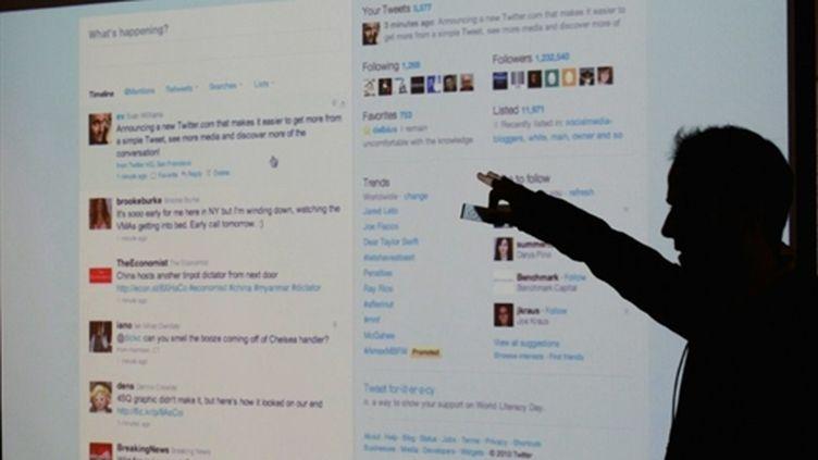 Lancement de la nouvelle version de Twitter par Evan Williams au siège de San Francisco le 14/09/10 (AFP Justin Sullivan)