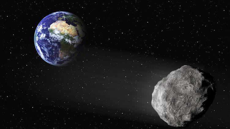 Cette vue d'artiste présente un astéroïde près de la Terre. (FIZZFOTO / MANUEL COHEN / AFP)