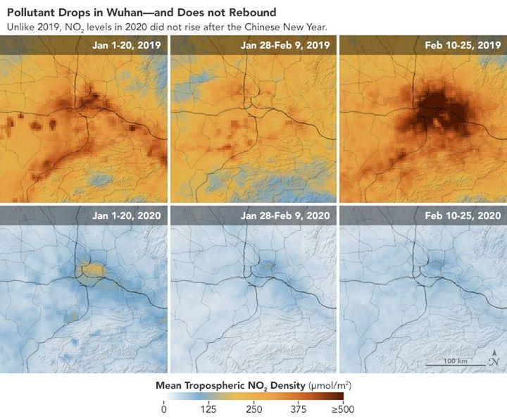 Pollution au dioxyde d'azote dans la région de Wuhan (Chine), en janvier-février 2019 et janvier-février 2020. (ESA)