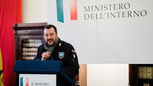 Le ministre de l'Intérieur italien Matteo Salvini, le 19 janvier 2019 à Naples (Italie). (ELIANO IMPERATO / CONTROLUCE / AFP)