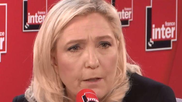 Marine Le Pen, présidente du Rassemblement national, était l'invitée de France Inter mercredi 26 février 2020. (FRANCE INTER / RADIO FRANCE)