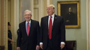 L'ex-président américain Donald Trump et le leader des républicains au Sénat Mitch McConnell, le 23 octobre 2012, à Washington (Etats-Unis). (DREW ANGERER / GETTY IMAGES NORTH AMERICA / AFP)