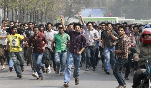 Manifestation de militants islamistes à Dacca le 12 février 2013 (REUTERS - Andrew Biraj)