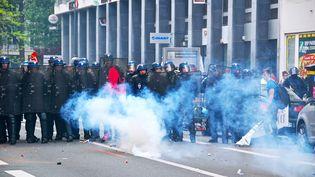 Des policiers face à des manifestants anti-loi Travail, le 12 mai 2016 à Lille. (MAXPPP)
