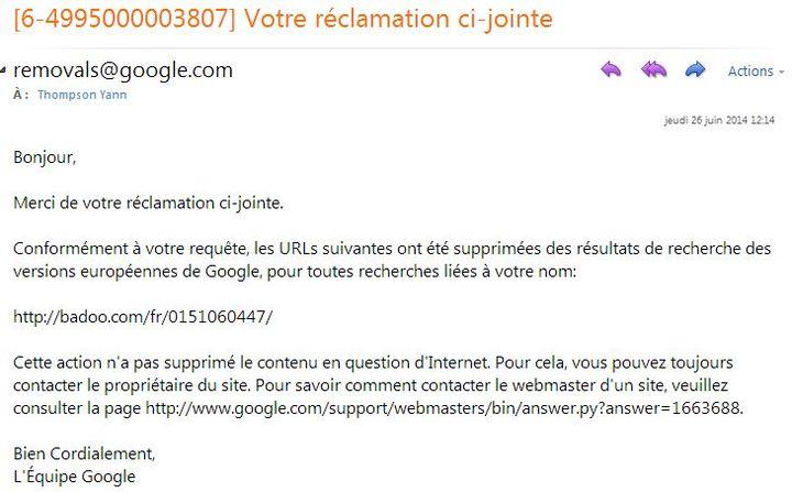 Capture d'écran du message envoyé par Google. (YANN THOMPSON / FRANCETV INFO)